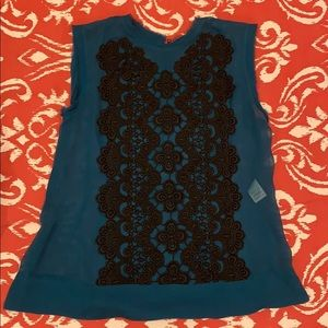 Nanette Lepore silk embroidered top- size 4